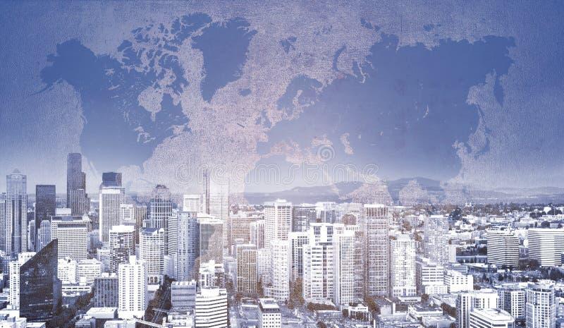 Ícone do fechamento de Digitas no fundo da cidade fotografia de stock royalty free