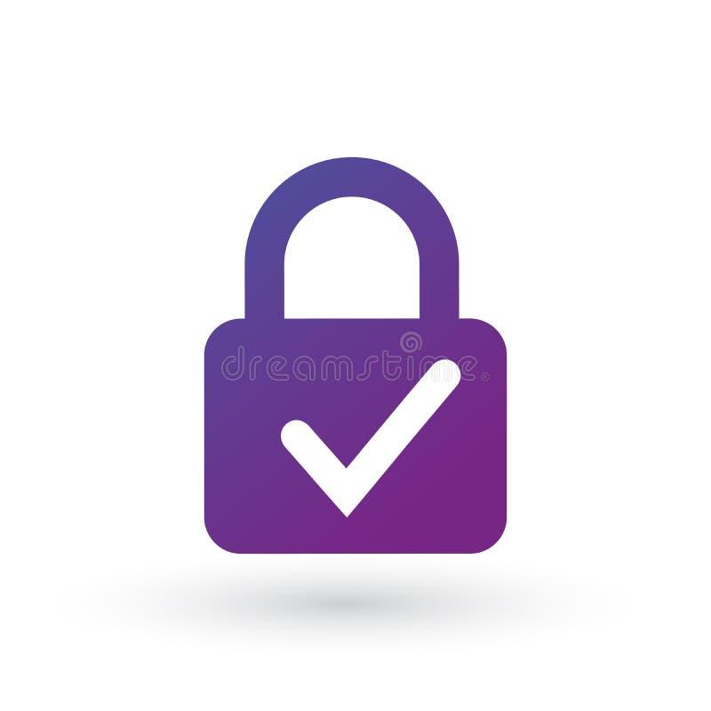 Ícone do fechamento e da marca de verificação isolado no fundo branco Sinal do fechamento do controlo de segurança Ilustração do  ilustração do vetor