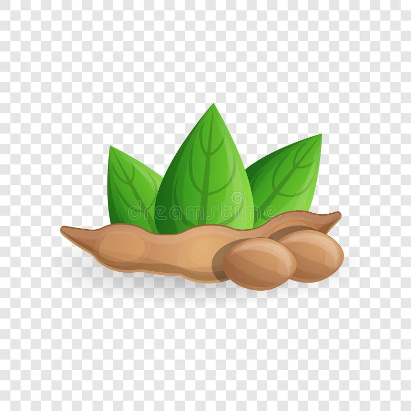 Ícone do feijão de soja, estilo dos desenhos animados ilustração stock