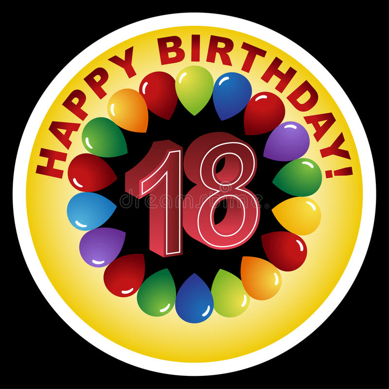 Ícone do feliz aniversario - 18o feliz ilustração royalty free