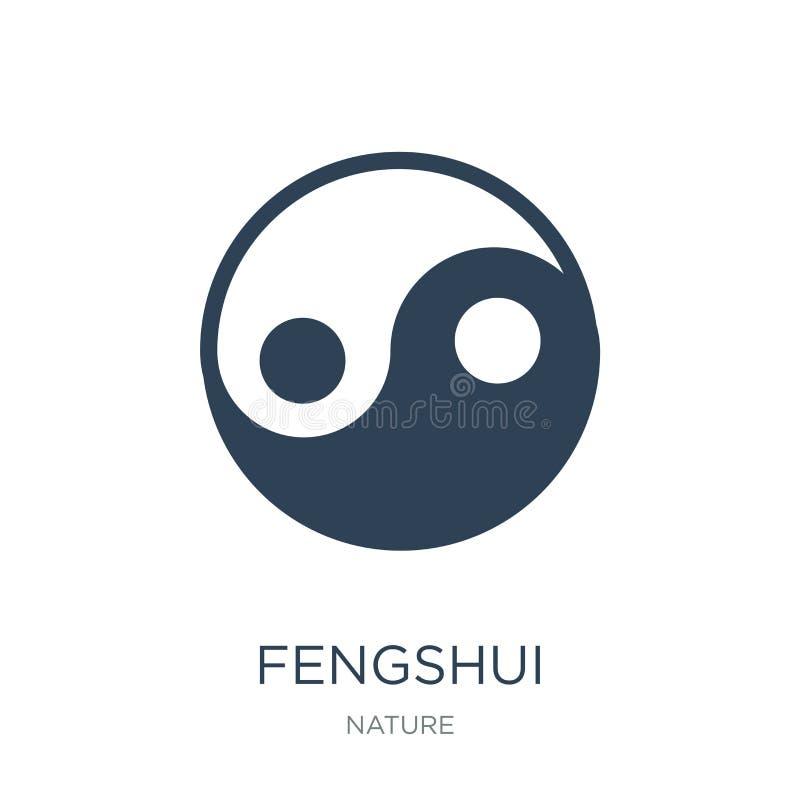 ícone do fengshui no estilo na moda do projeto ícone do fengshui isolado no fundo branco plano simples e moderno do ícone do veto ilustração stock