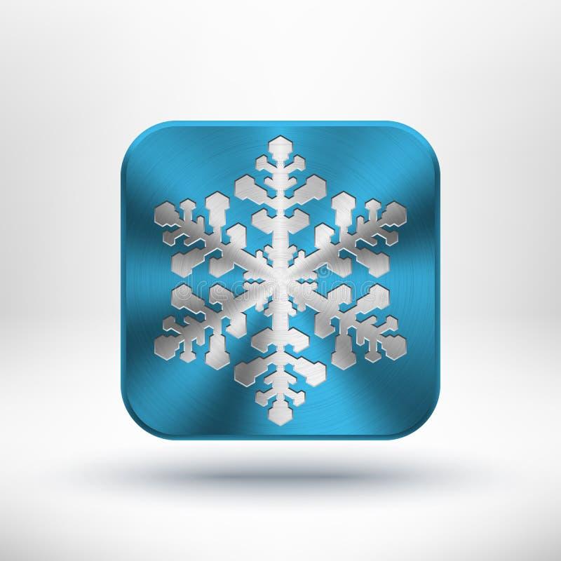 Ícone do floco de neve do metal do Natal ilustração royalty free