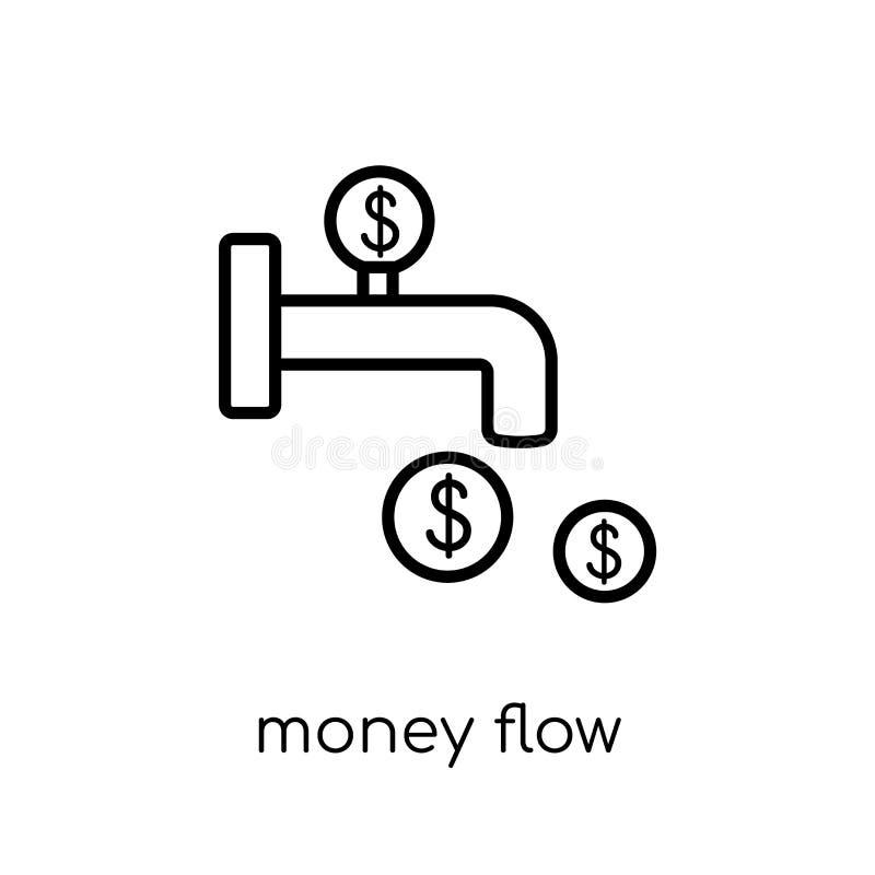 Ícone do fluxo de dinheiro Ico linear liso moderno na moda do fluxo de dinheiro do vetor ilustração royalty free