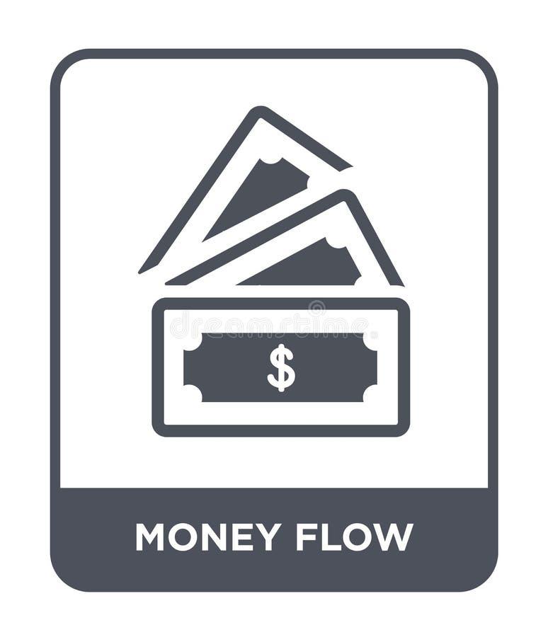 ícone do fluxo de dinheiro no estilo na moda do projeto ícone do fluxo de dinheiro isolado no fundo branco ícone do vetor do flux ilustração stock