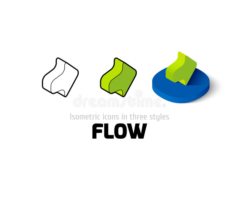 Ícone do fluxo no estilo diferente ilustração stock
