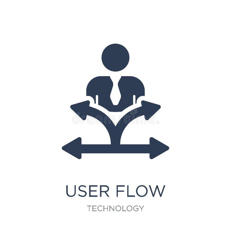 Ícone do fluxo do usuário Ícone liso na moda do fluxo do usuário do vetor no backg branco ilustração do vetor