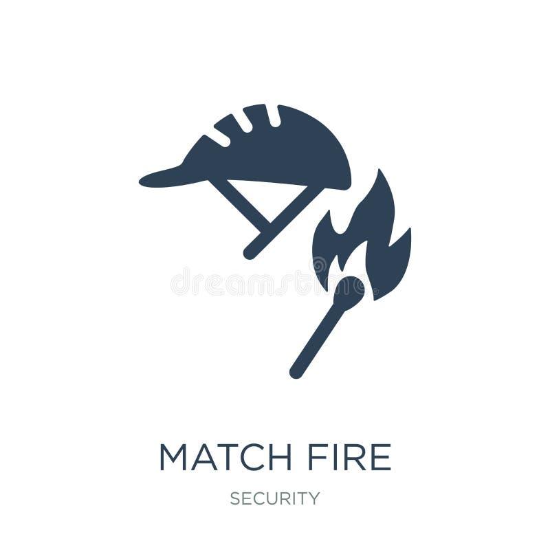 ícone do fogo do fósforo no estilo na moda do projeto ícone do fogo do fósforo isolado no fundo branco ícone do vetor do fogo do  ilustração do vetor