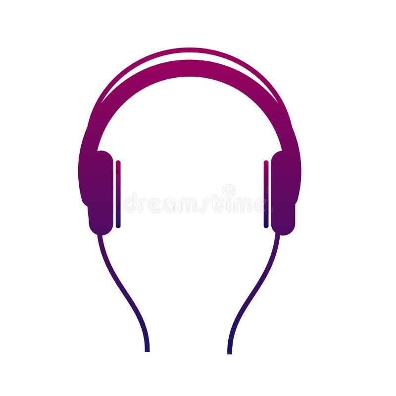 Ícone do fone de ouvido Escute a música estereofônica com um jogador audio ilustração do vetor