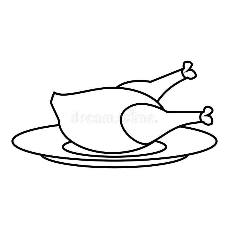 Ícone do frango frito, estilo do esboço ilustração stock