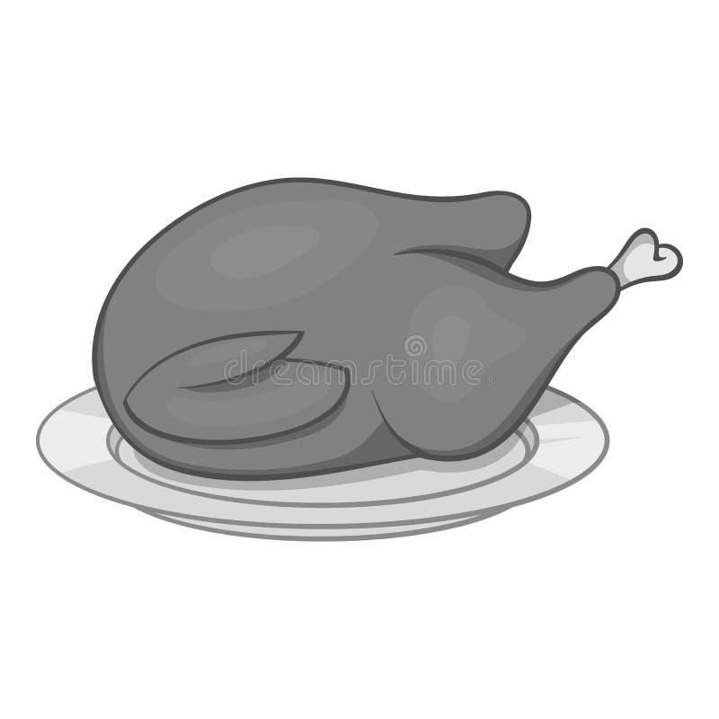 Ícone do frango frito, estilo monocromático preto ilustração royalty free