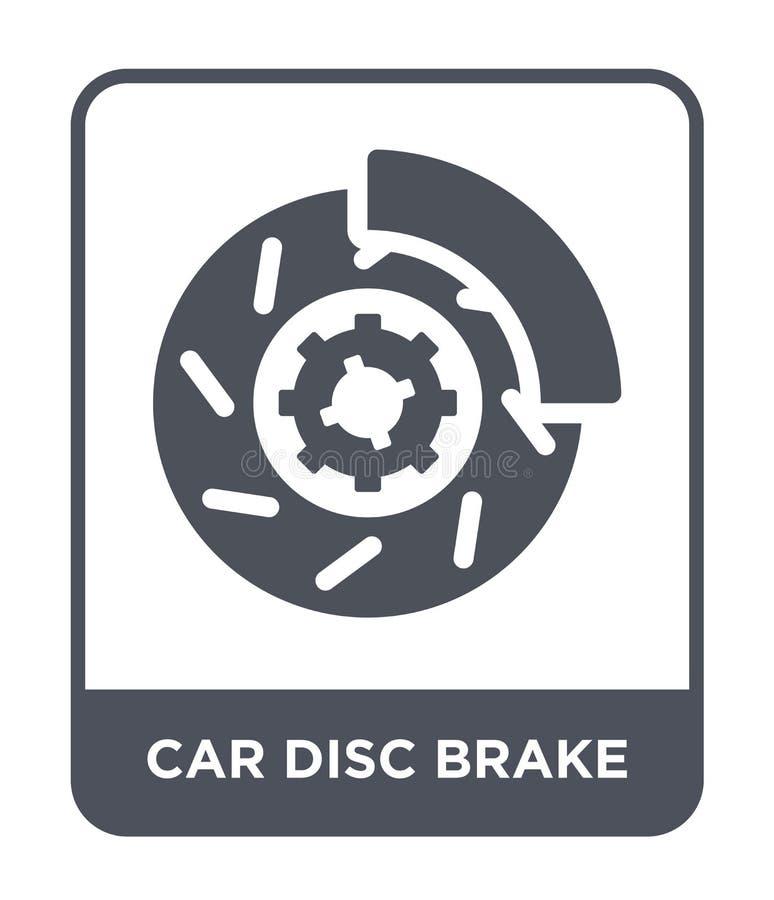 ícone do freio de disco do carro no estilo na moda do projeto ícone do freio de disco do carro isolado no fundo branco ícone do v ilustração stock