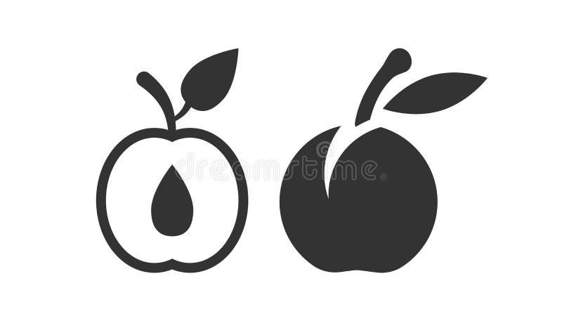 Ícone do fruto do abricó no estilo liso Ilustração do vetor da sobremesa do pêssego no fundo isolado branco Conceito orgânico do  ilustração stock