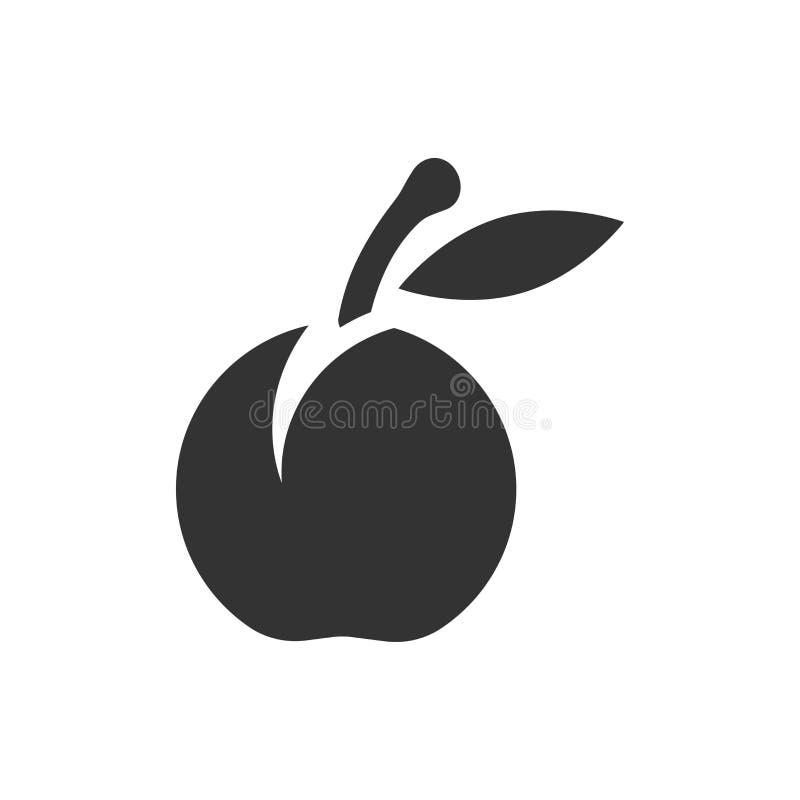 Ícone do fruto do abricó no estilo liso Ilustração do vetor da sobremesa do pêssego no fundo isolado branco Conceito orgânico do  ilustração do vetor