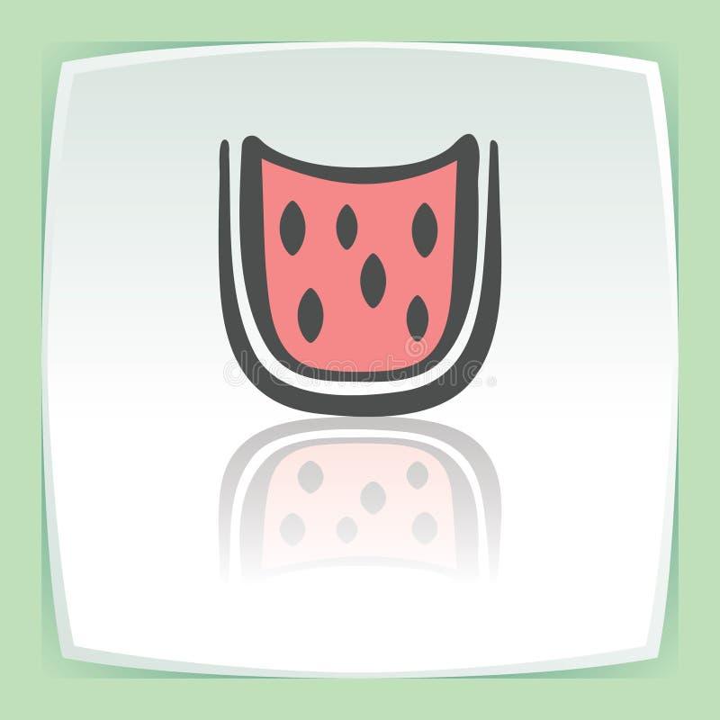 Ícone do fruto da fatia da melancia do esboço do vetor Logotipo moderno e pictograma ilustração do vetor