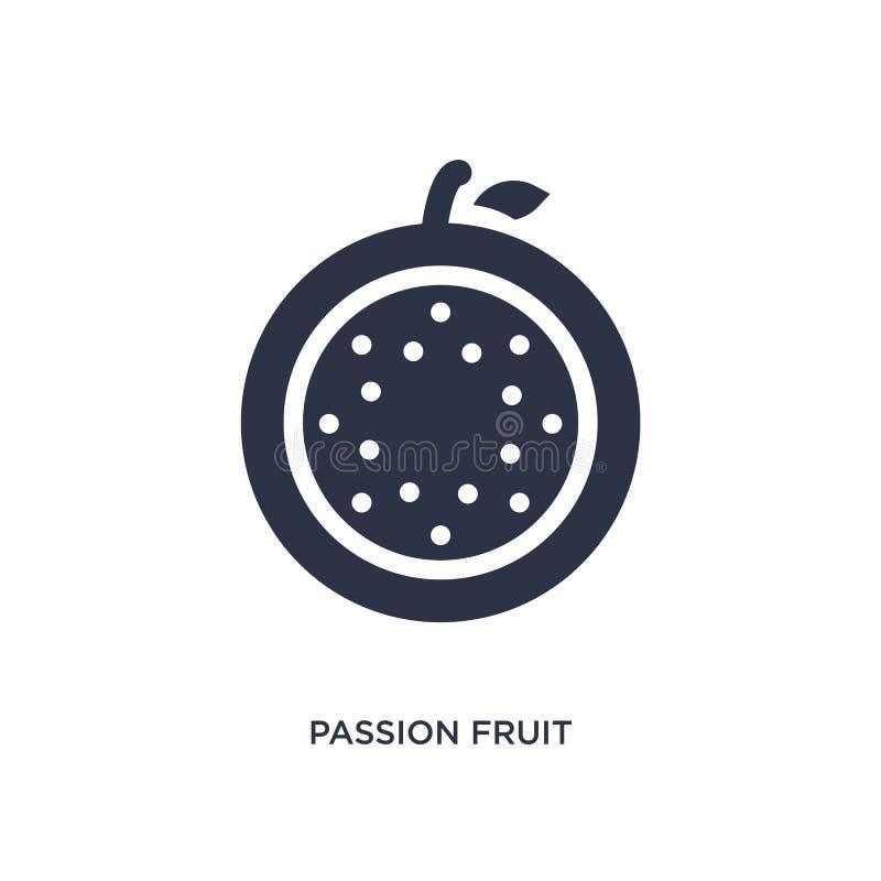 ícone do fruto de paixão no fundo branco Ilustração simples do elemento do conceito dos frutos ilustração do vetor