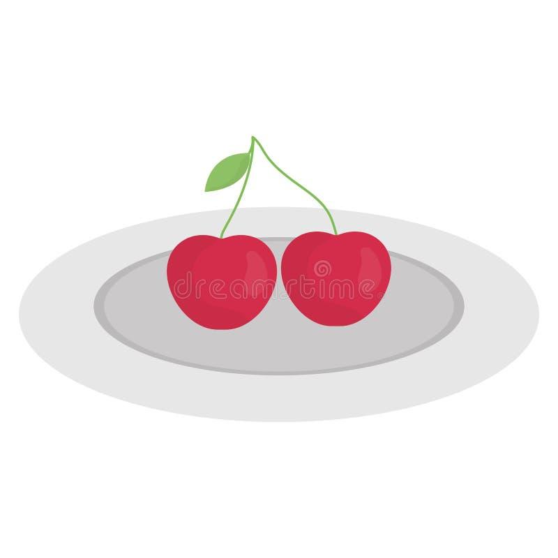 Ícone do fruto fresco das cerejas ilustração stock