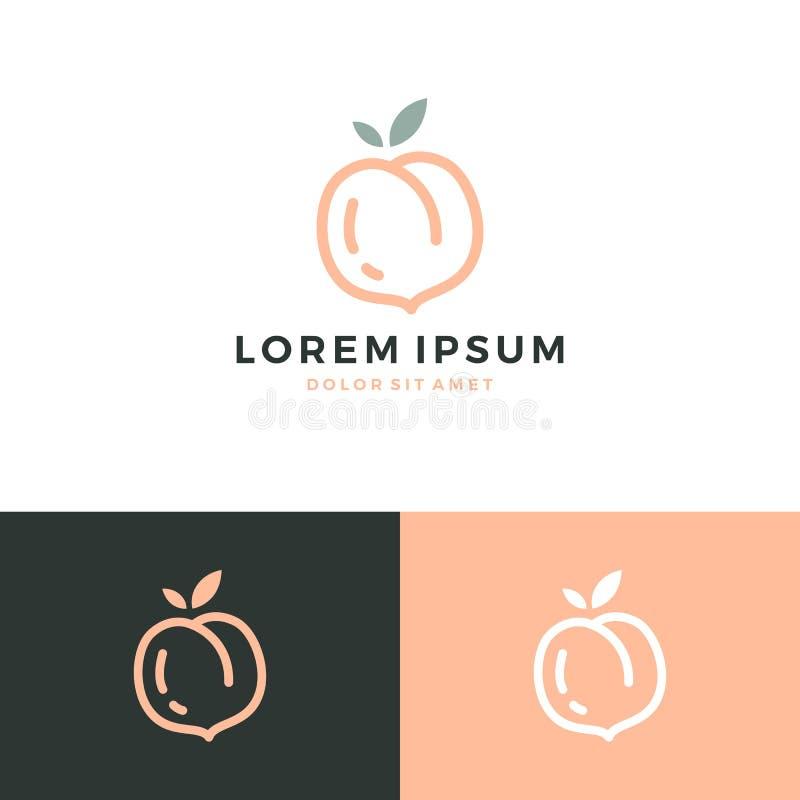 ícone do fruto do vetor do logotipo do pêssego ilustração stock