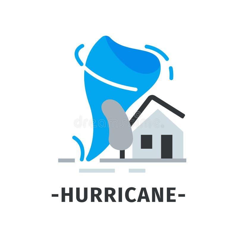 Ícone do furacão com giro de vento violento azul, casa cinzenta com telhado quebrado e árvore Disastre natural Vetor liso ilustração do vetor