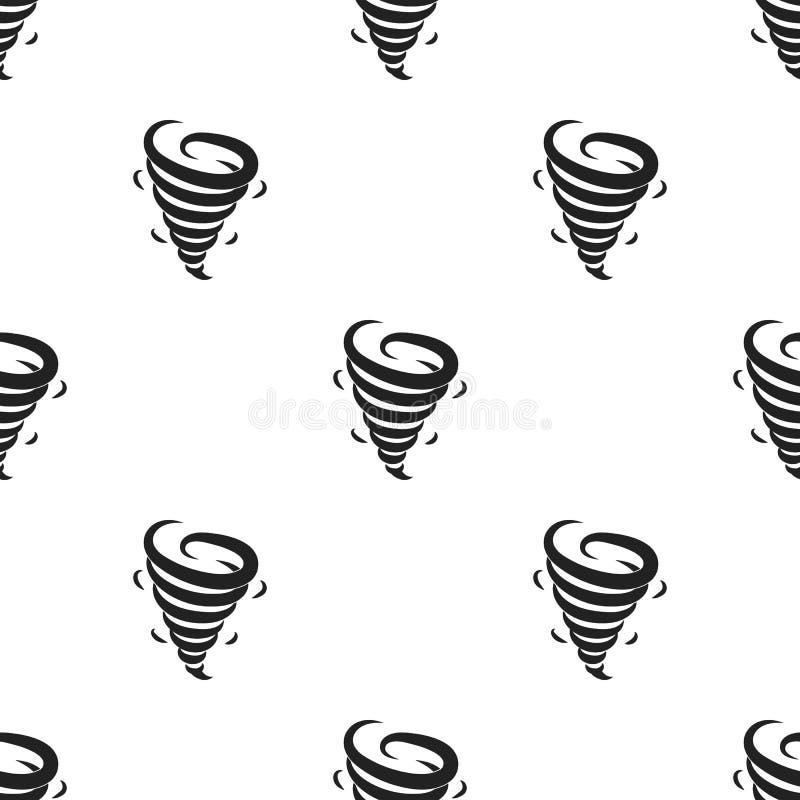 Ícone do furacão no estilo preto isolado no fundo branco Ilustração do vetor do estoque do teste padrão de tempo ilustração stock