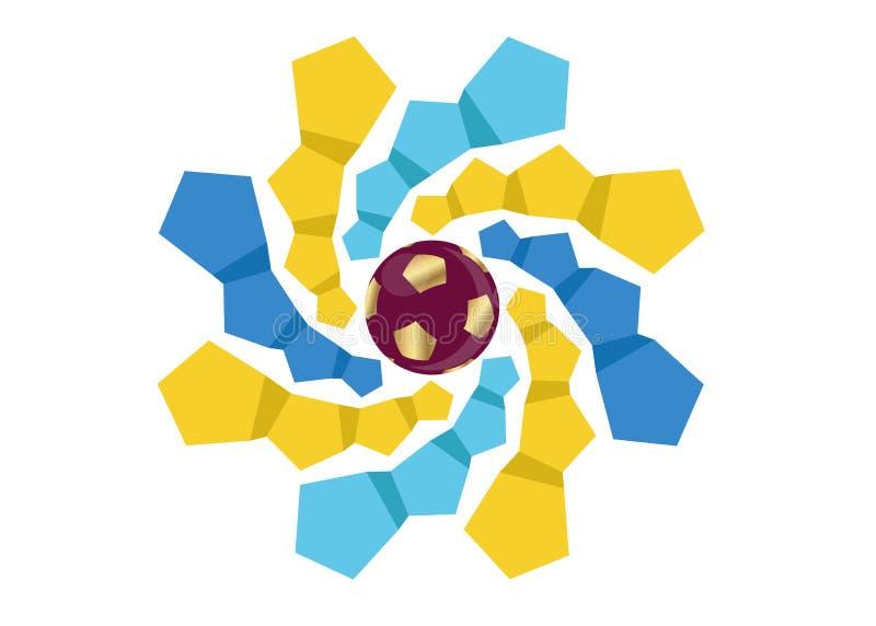 2022 ícone do futebol do futebol do ouro de Catar, logotipo abstrato da bandeira para o fundo 2022 do molde do campeonato do mund ilustração do vetor