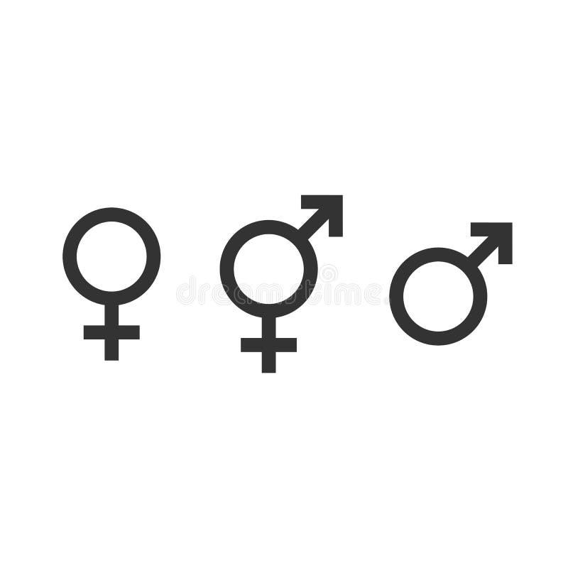Ícone do gênero Símbolo fêmea, do homem e do transgender Ilustração do vetor, projeto liso ilustração do vetor