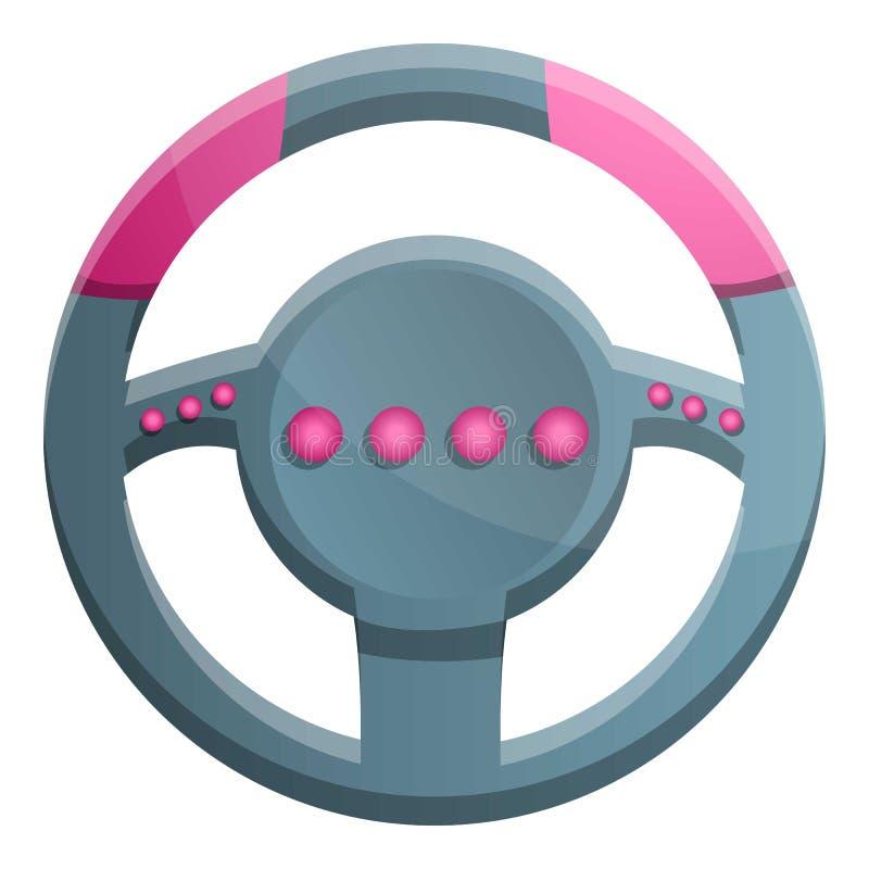 Ícone do gamepad do volante, estilo dos desenhos animados ilustração do vetor