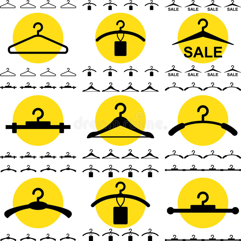 Ícone do gancho de roupa para o projeto da forma ou da venda isolado ilustração royalty free