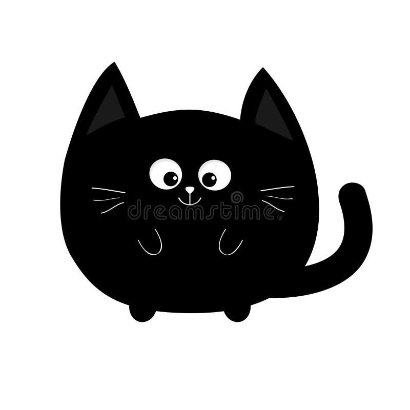 Ícone do gato preto de forma redonda Caráter de sorriso dos desenhos animados engraçados bonitos Animal de Kawaii Cauda grande, s ilustração royalty free