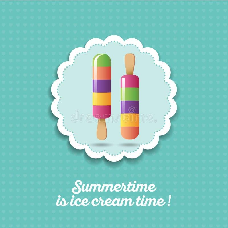 Ícone do gelado Gelado colorido do fruto dois em varas ilustração do vetor