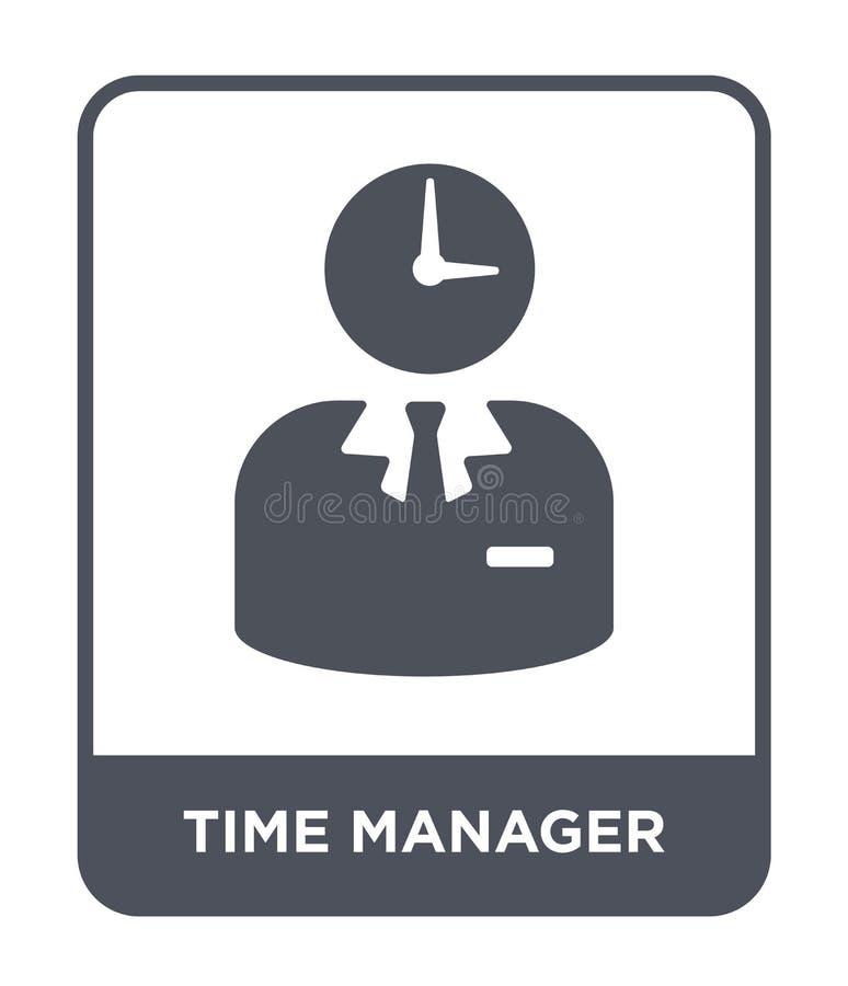 ícone do gerente do tempo no estilo na moda do projeto ícone do gerente do tempo isolado no fundo branco ícone do vetor do gerent ilustração stock