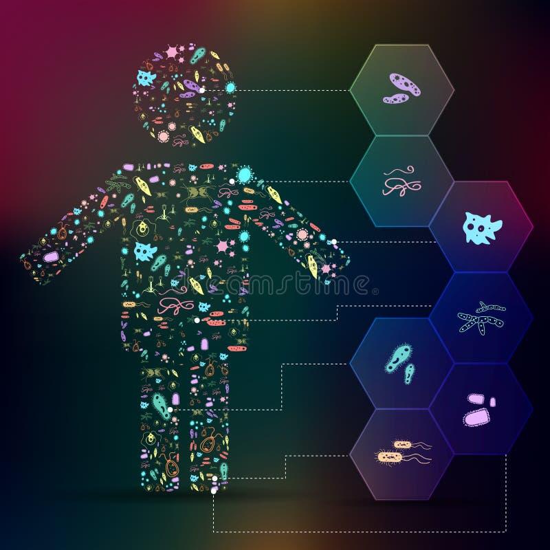 Ícone do germe e do micróbio patogênico no fundo infographic da forma humana ilustração royalty free