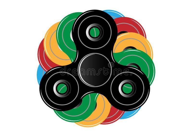 Ícone do girador da inquietação - brinque para o alívio de tensão e a melhoria da capacidade de concentração Multicolorido enchid ilustração stock