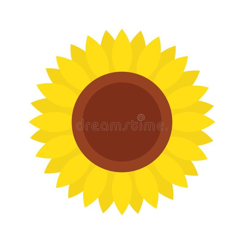 Ícone do girassol, isolado no fundo branco ilustração royalty free
