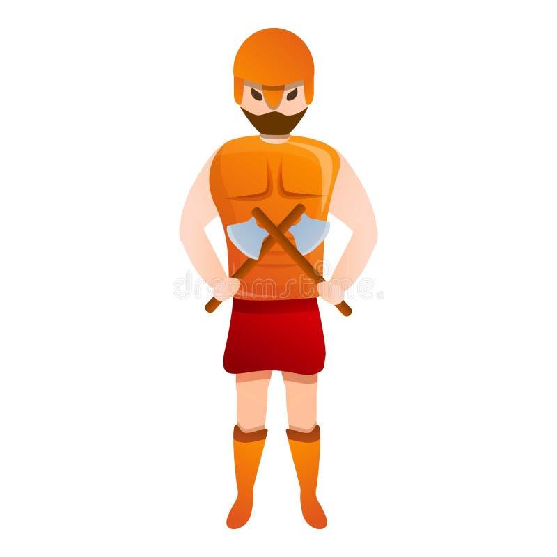 Ícone do Gladiator dois eixos, estilo de desenho animado ilustração royalty free