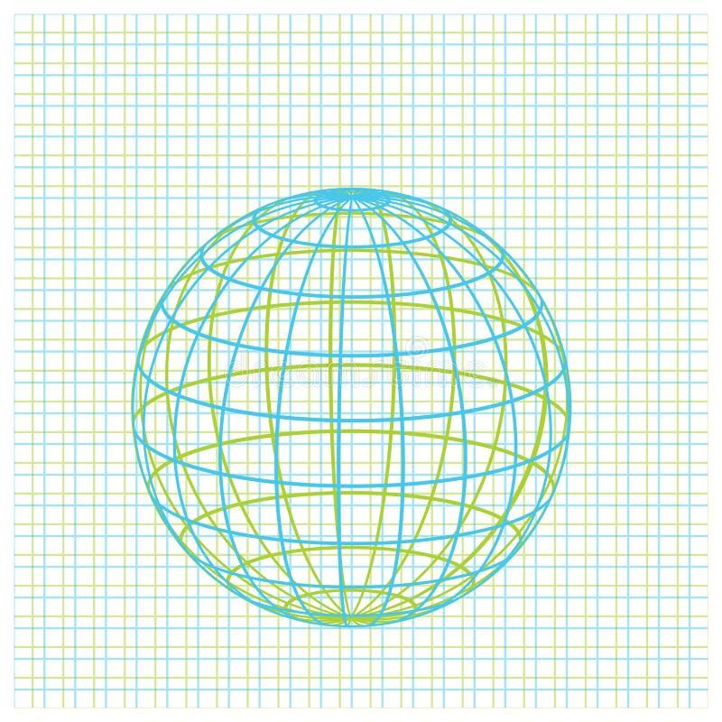 Ícone do globo da terra da grade ilustração royalty free