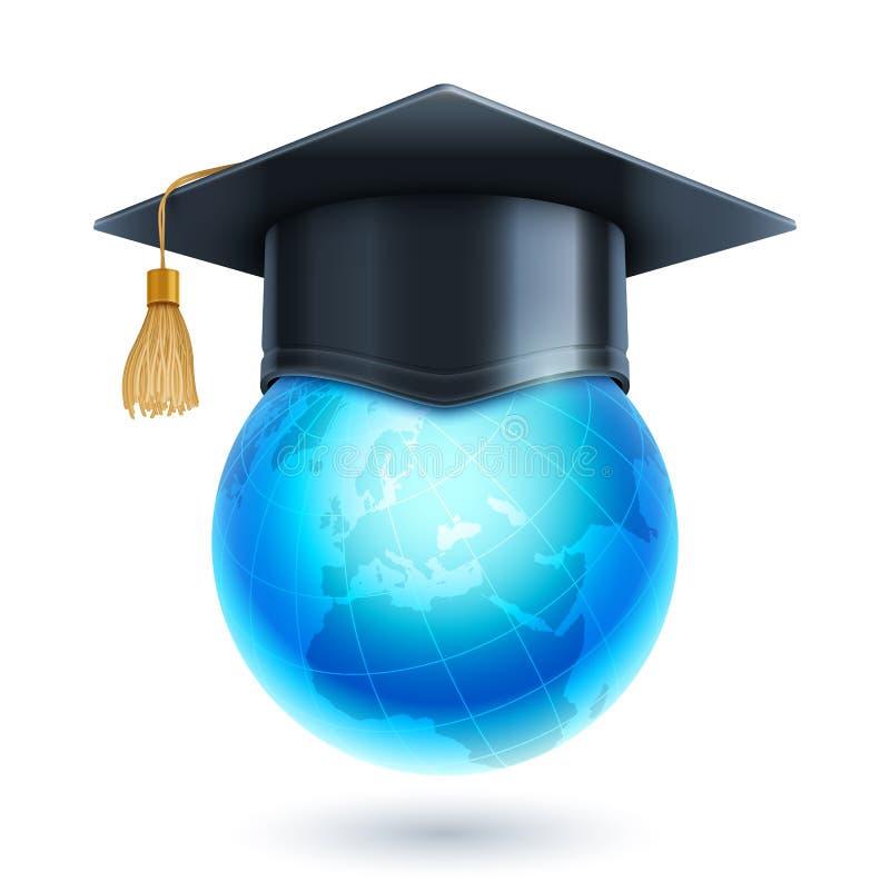 Ícone do globo do tampão e do mundo da graduação ilustração stock