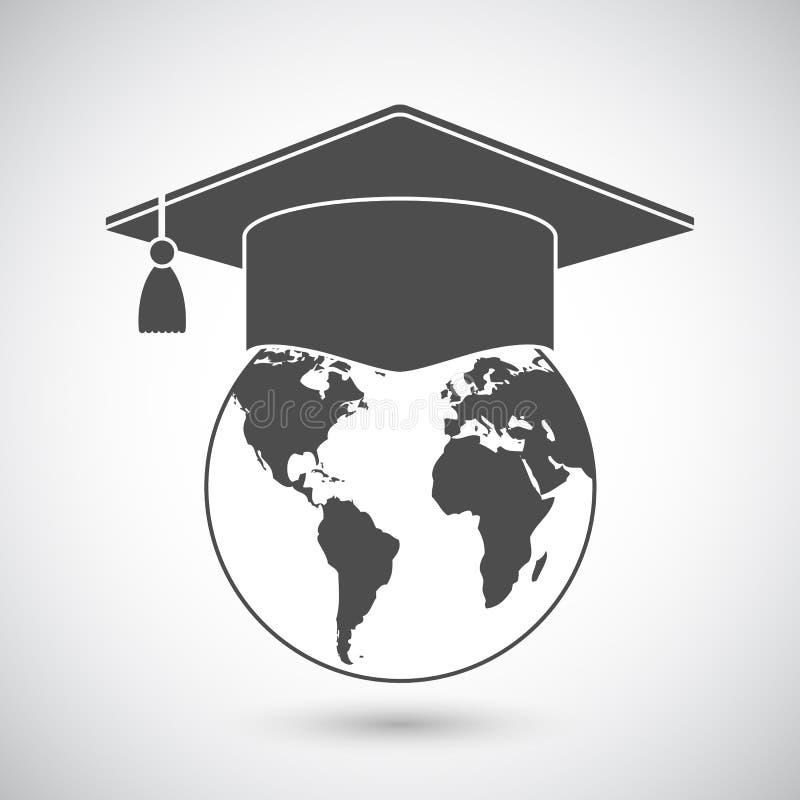Ícone do globo do tampão e do mundo da graduação ilustração royalty free