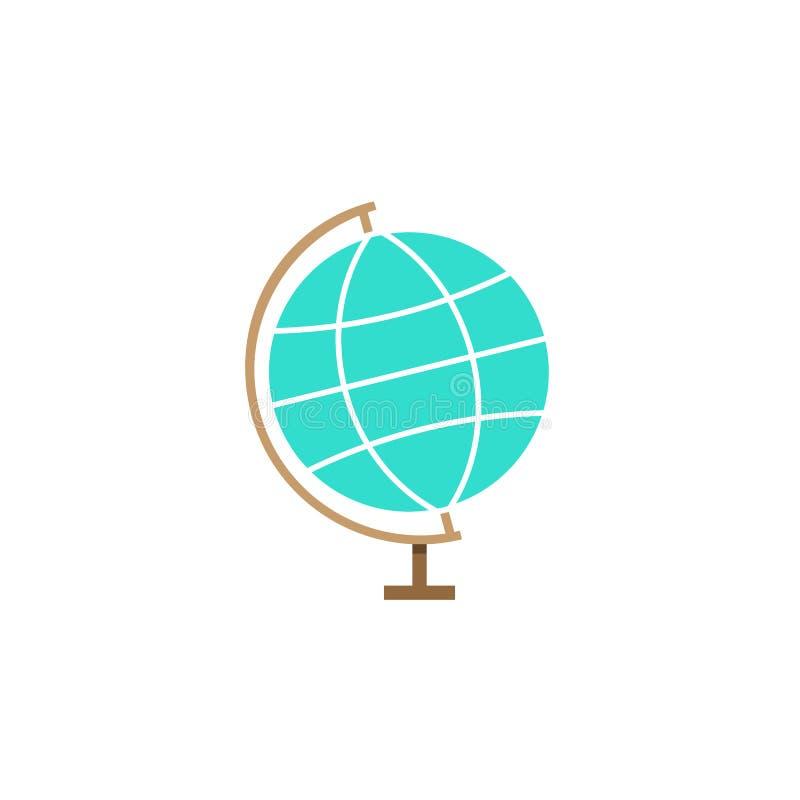 Ícone do globo, escola e elemento lisos da educação ilustração do vetor