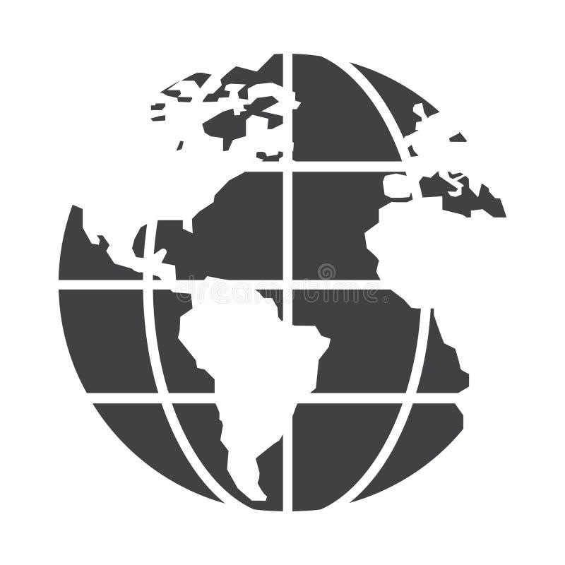 Ícone do globo do preto liso ilustração stock