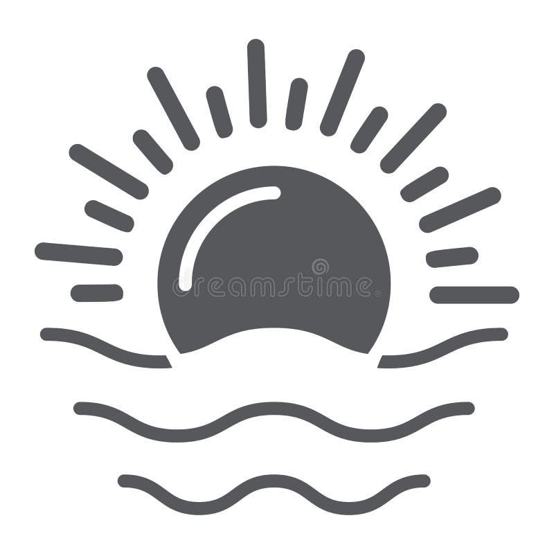 Ícone do glyph do alvorecer, tempo e sol, sinal do nascer do sol, gráficos de vetor, um teste padrão contínuo em um fundo branco ilustração royalty free