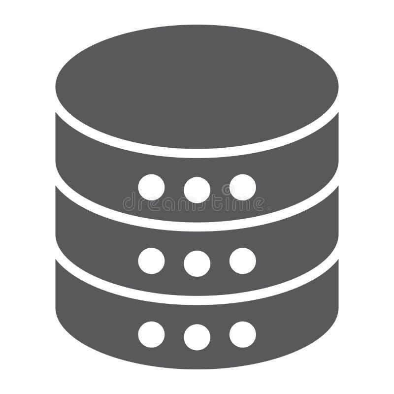 Ícone do glyph do base de dados, dados e analítica, servidor ilustração stock