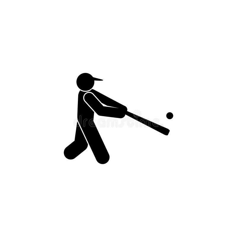 ?cone do glyph do basebol do esporte do homem da corrida Elemento do ?cone da ilustra??o do esporte do basebol Os sinais e os s?m ilustração do vetor