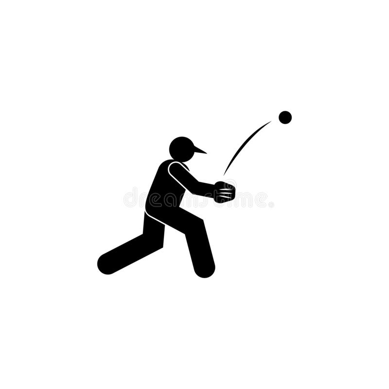 ?cone do glyph do basebol do lance da bola do homem Elemento do ?cone da ilustra??o do esporte do basebol Os sinais e os s?mbolos ilustração royalty free
