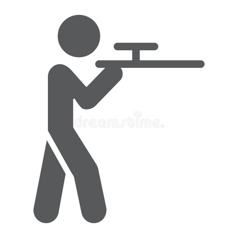 Ícone do glyph, caça e espingarda de tiro, homem com sinal do riffle, gráficos de vetor, um teste padrão contínuo em um fundo bra ilustração stock