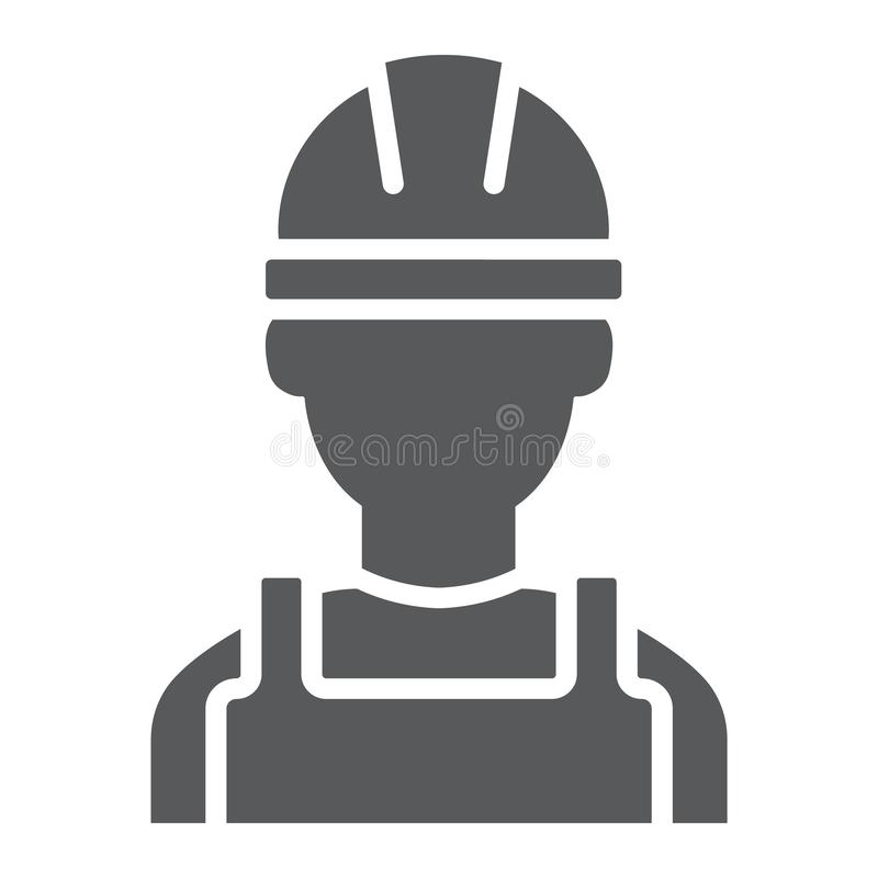 Ícone do glyph do construtor, coordenador e homem, sinal do trabalhador da construção, gráficos de vetor, um teste padrão contínu ilustração do vetor