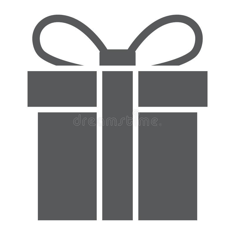 Ícone do glyph da caixa de presente, Natal e pacote, sinal atual, gráficos de vetor, um teste padrão contínuo em um fundo branco ilustração stock