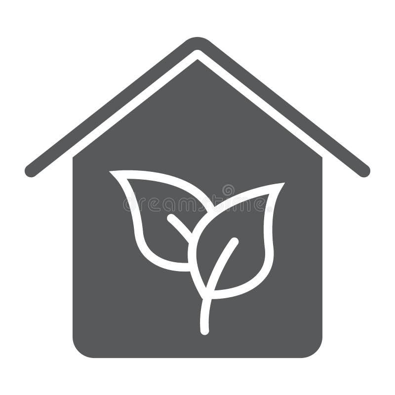 Ícone do glyph da casa de Eco, bens imobiliários e casa ilustração stock
