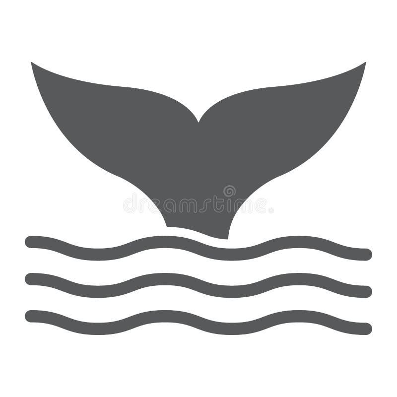 Ícone do glyph da cauda da baleia, animal e subaquático ilustração royalty free