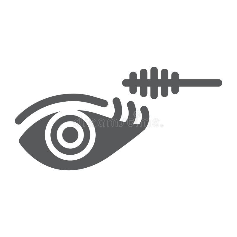 Ícone do glyph da composição do olho, beleza e composição, sinal da escova do rímel, gráficos de vetor, um teste padrão contínuo  ilustração do vetor