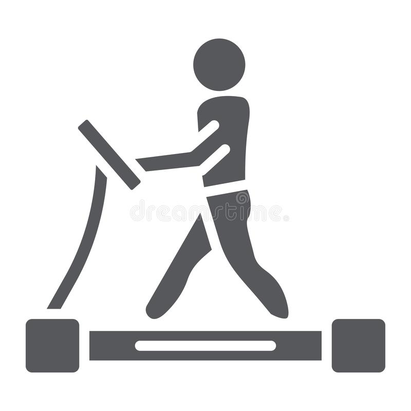 Ícone do glyph da escada rolante, aptidão e exercício, sinal do corredor, gráficos de vetor, um teste padrão contínuo em um fundo ilustração stock